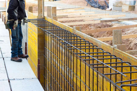 foremen: Assembling of metallic carpentry for reinforced concrete wall
