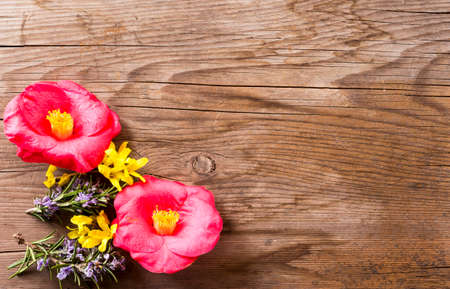 furnish: spring flowers resting on wooden table