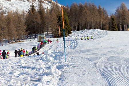 ski lift: Ski resort with track and ski lift