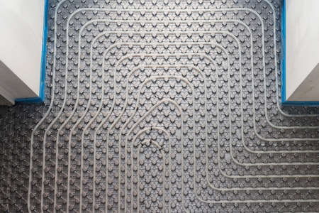 radiant: System floor radiant with polyethylene pipes Stock Photo