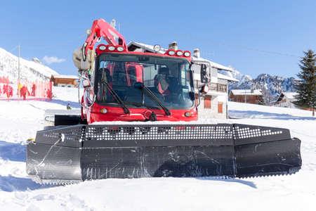 groomer: snow groomer at a ski resort Stock Photo