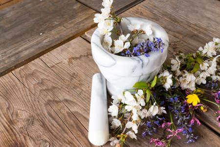 essences: Alternative Medicine: preparation of essences of flowers and spring herbs