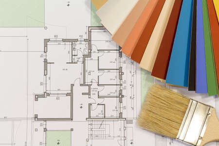 color chart and brush with residential building project