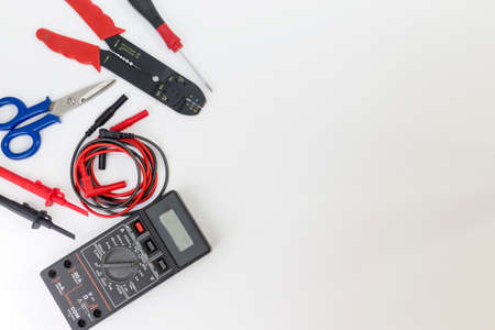Electrician tools, components and instruments  on a white background Stockfoto