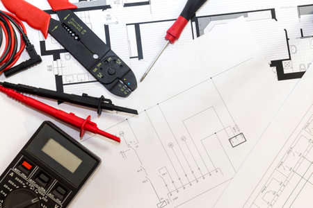 Electrician tools , instruments  and project design 版權商用圖片