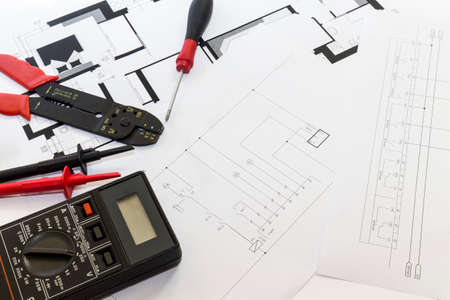 Electrician tools , instruments  and project design Stockfoto