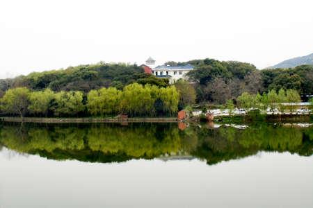 Waterside lodge landscape view