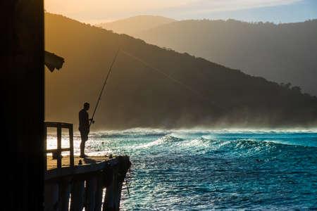 Sunset Fishing At Matadeiro Beach Florianópolis Brazil