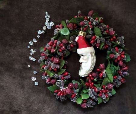 Christmas, new year circle wreath decoration, Santa, Beads, diamonds Stock fotó
