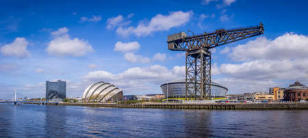 Panorama of the North Bank of the River Clyde, showing the Armadillo, the Finnieston Crane and the North Rotunda. Editorial