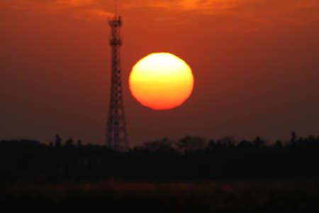 Electrical tower sunset Zdjęcie Seryjne