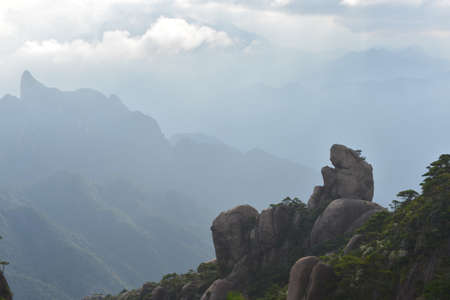 wang: View of a rock on a mountain