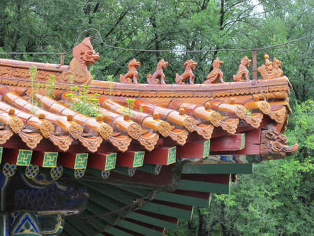 ancient relics: Close up to a chinese ancient architecture style roof