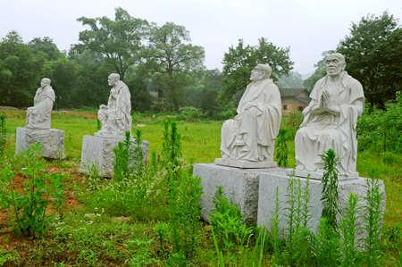 arhat: Closeup of Arhat statues in the park