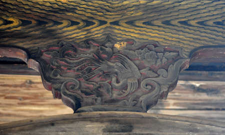 corbel: Closeup of sculptures on teh wood Stock Photo