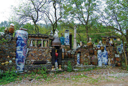 Stack of porcelain culprit in a rural village Stock Photo