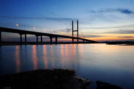 bridge nature: Jian Yi Bridge nature scenery at night