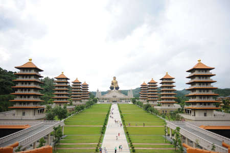 View of the Fo Guang Shan Buddha temple. Beautiful and peaceful scenario