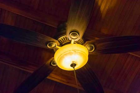 Brown fan in the cieling
