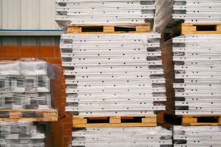 Pile of aluminiom alloy storage in a warehouse for production photo