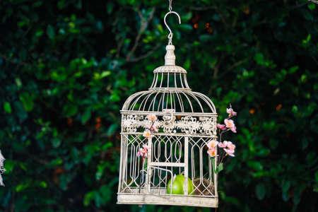 White ornamental cage hangging Foto de archivo