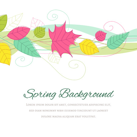 copyspace: Hand drawn spring background with copyspace at the bottom. The fonts are called Alex Brush and Alegreya SC.