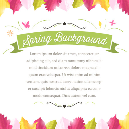 Spring background with copy space in the middle and colorful leaves at the top and bottom. The fonts are called \