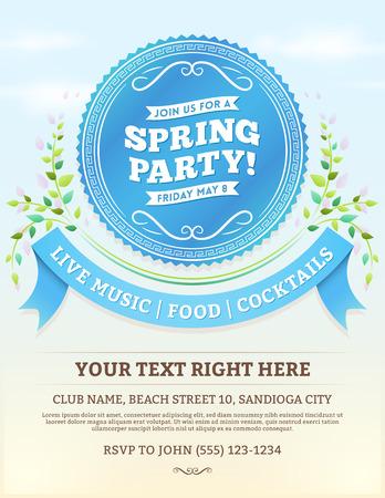 ベクトル青リボンと夏春のパーティの招待状は、明るい青空に残します。下部スペースにコピーします。  イラスト・ベクター素材