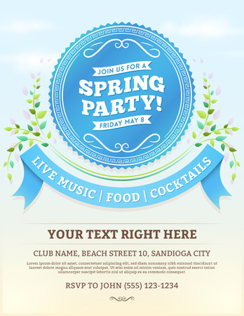 Vector spring party invitation with blue ribbons and summer leaves on a bright blue sky. Copy space at the bottom.