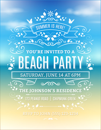 Beach party invitation with white ornaments and ribbons on a blurry ocean background. Vettoriali