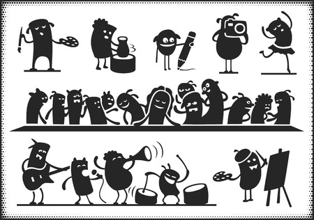 last: Characters singing, dancing, playing and painting. Also a paraphrase of Da Vincis \Last Supper\. Arms, legs and other objects are not merged. Illustration