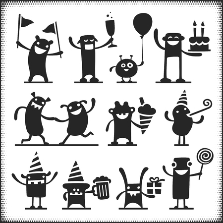 partying: Partying vector characters. Arms, legs, ground plane etc. are separate objects.