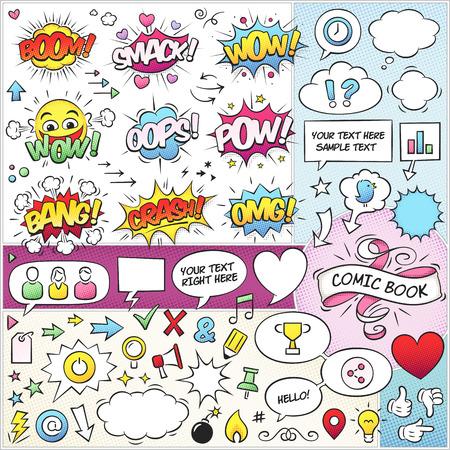 カラフルなコミック ブック ベクトル要素の大規模なセットです。ベタ塗りのみが使用されます。フォントは Komika Axis と呼ばれる「と VTC Letterer Pro  イラスト・ベクター素材