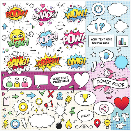 Large set of colorful comic book vector elements. Only solid fills used. The fonts are called \Komika Axis\ and \VTC Letterer Pro\.
