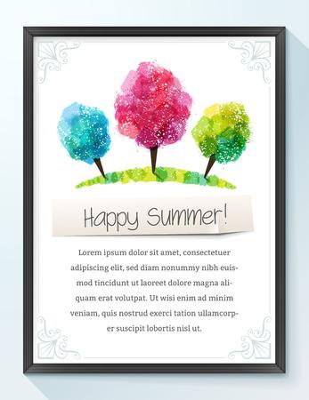 summer trees: Marco con los �rboles coloridos del verano y adornos. Espacio en blanco en la parte inferior.
