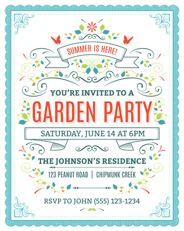 Vector garden party invitation with ornaments and ribbons. Çizim