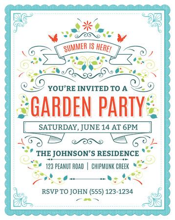 feestelijk: Vector tuin partij uitnodiging met ornamenten en linten.