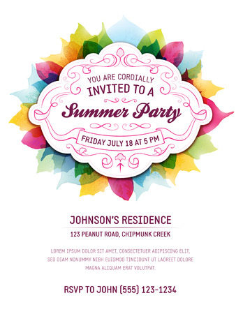 Summer party invitation with leaves and ornaments. Room for your own text at the bottom.