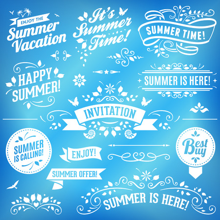 Summer ornaments and ribbons. No transparency. File format is EPS8.