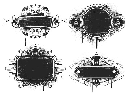 scratches: Four worn bannerssigns with scratches and spray paint. The scratches and paint are separate white fills. Illustration