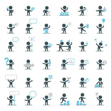 Grote set van vector tekens in verschillende situaties. Stock Illustratie
