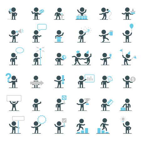 Large set of vector characters in different situations. Stok Fotoğraf - 36994881