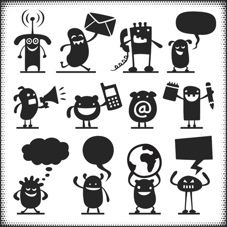 communicating: Communicating vector characters. Arms, legs, ground plane etc. are separate objects.