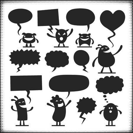 Vector characters with speech bubbles. Arms, legs, ground plane etc. are separate objects.
