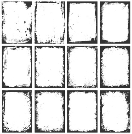 A set of twelve grunge vector frames with stains, scratches and brush strokes. Illustration