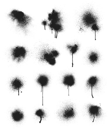 Collection of vector spray paint stains. Some of the stains have running paint.