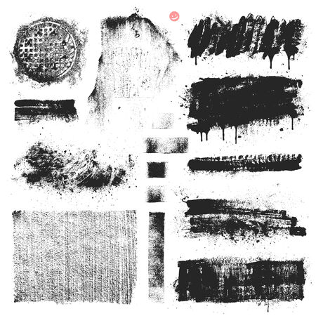 Collection of vector textures, dripping paint, stains and brush strokes. Illustration