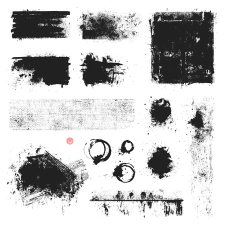 splatters: Set of vector textures, stains and brush strokes. Illustration