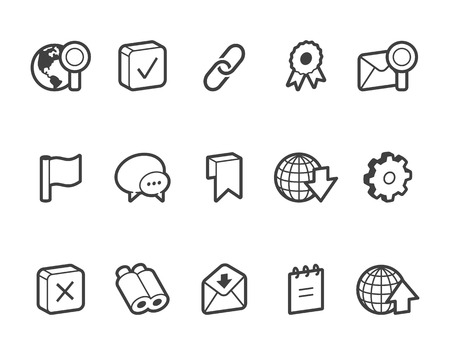 outlined isolated: Outlined internet and website vector icons. File format is EPS8.