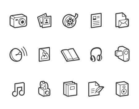 transmit: Outlined media and publishing vector icons. File format is EPS8.